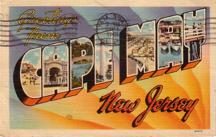 Greetings from Cape May New Jersey NJ, Large Letter Linen Postcard - 4196