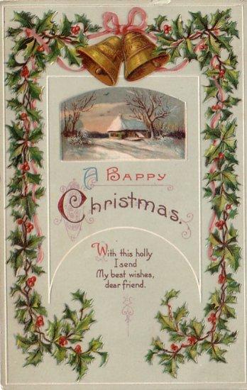 Holly Bordered 1912 Christmas Vintage Postcard - 4208