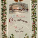 Holly Bordered 1912 Christmas Vintage Postcard - 4208