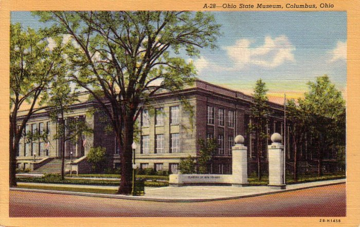 Ohio State Museum in Columbus OH, 1942 Curt Teich Linen Postcard - 4227