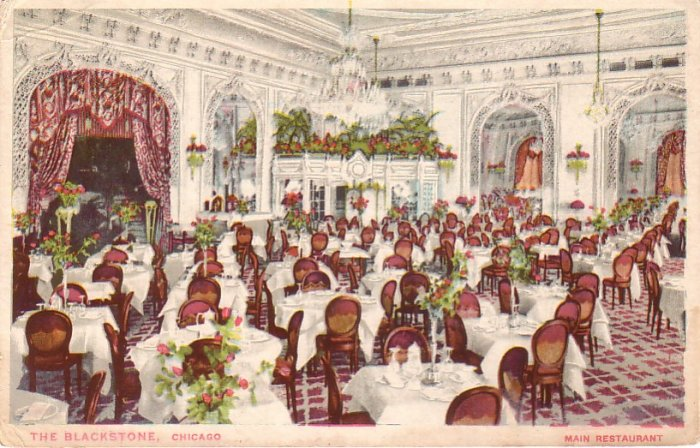 Main Restaurant of The Blackstone Hotel in Chicago Illinois IL, Vintage Postcard - 4233