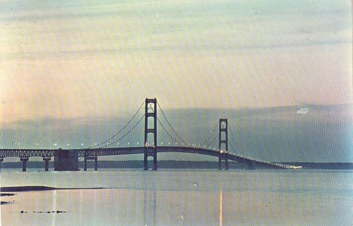 Mackinac Straits Bridge at Twilight, 1961 Chrome Postcard - 4236