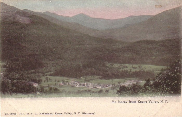 Mt. Marcy from Keene Valley in New York NY, vintage Postcard - 4248
