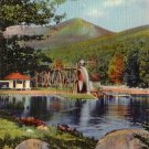 Water Wheel on Shadow Lake in White Mountains New Hampshire NH Curt Teich Linen Postcard - 4253