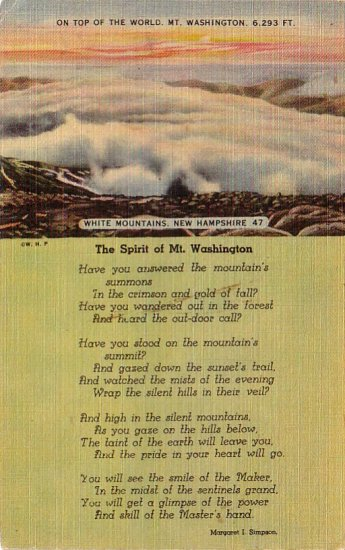 The Spirit of Mt. Washington in White Mountains New Hampshire NH, Linen Postcard - 4255