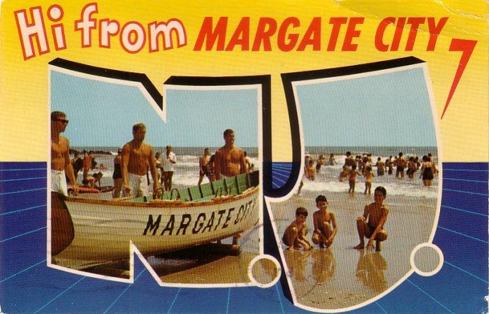 Hi from Margate City New Jersey NJ, Chrome Postcard - 4259