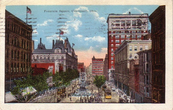 Fountain Square in Cincinnati Ohio OH, 1922 Vintage Postcard - 4260