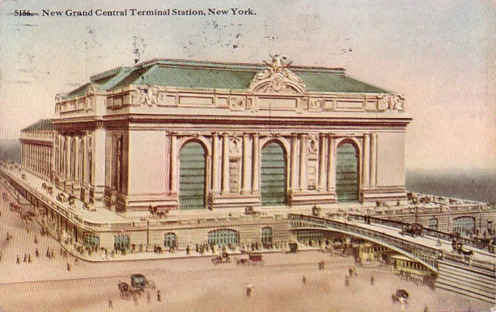 Grand Central Terminal Station in New York City NY, 1914 Vintage Postcard - 4264