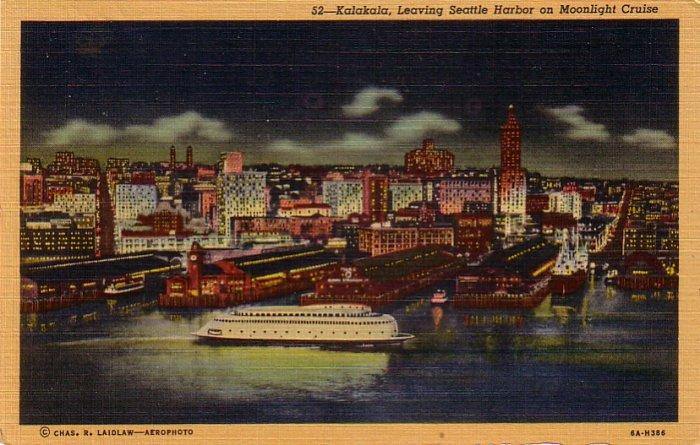 Kalakala Leaving Seattle Washington WA Harbor, 1936 Curt Teich Linen Postcard - 4265