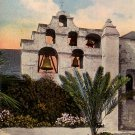 The Bells of San Gabriel Mission in California CA, 1917 Vintage Postcard - 013 NJ
