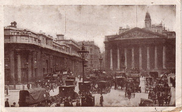 The Royal Exchange and Bank of England Busy Street Scene, Vintage Postcard - 014 NJ
