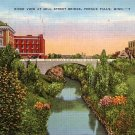 River View at Mill Street Bridge in Fergus Falls Minnesota MN, Linen Postcard - 033 NJ