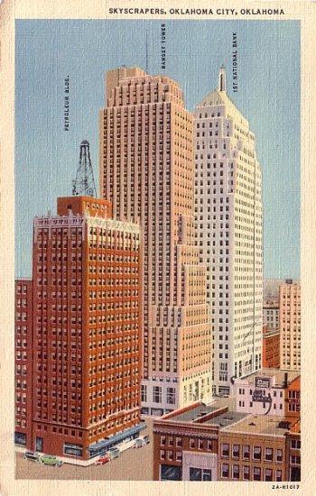 Skyscrapers in Oklahoma City OK, 1932 Curt Teich Linen Postcard - 034 NJ