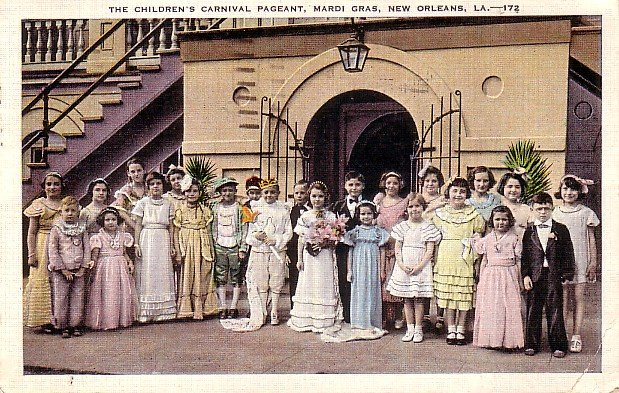 Children's Mardi Gras Carnival Pageant in New Orleans Louisiana LA, 1938 Linen Postcard - 044 NJ