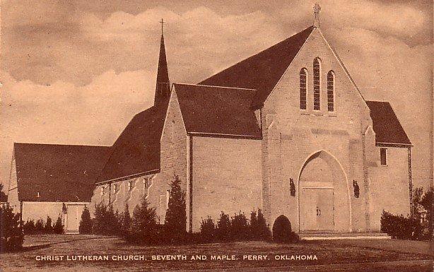 Christ LutheranChurch in Perry Oklahoma OK, 1954 Mid Century Postcard - 046 NJ