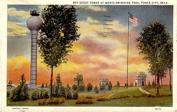 Boy Scout Tower at Wentz Swimming Pool in Ponca City Oklahoma OK, 1934 Curt Teich Postcard - 048 NJ