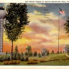 Boy Scout Tower at Wentz Swimming Pool in Ponca City Oklahoma OK, 1934 Curt Teich Postcard - 048 NJ