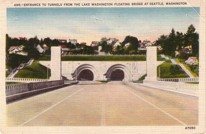 Tunnels from Lake Washington Floating Bridge in Seattle Washington WA Linen Postcard - 4279