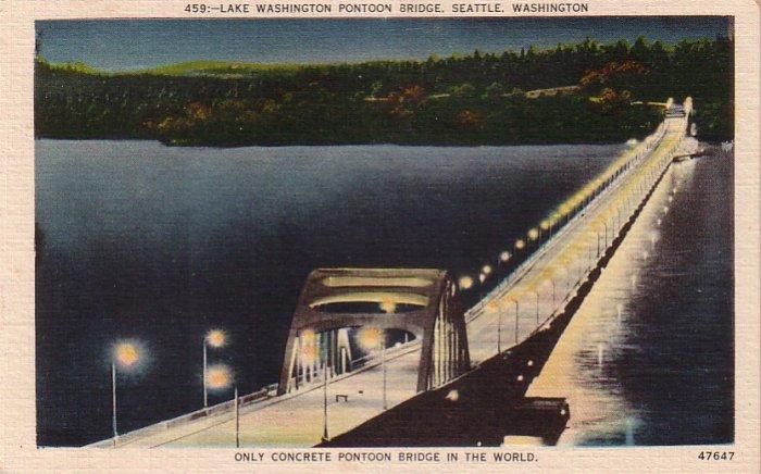 Lake Washington Pontoon Bridge in Seattle WA Linen Postcard - 4280