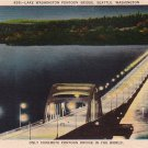 Lake Washington Pontoon Bridge in Seattle WA Linen Postcard - 4280
