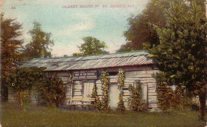 Joseph Robidoux Home Built by Indians in St. Joseph Missouri MO, 1909 Vintage Postcard - 4283
