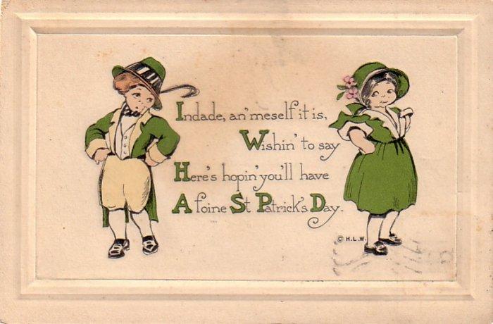 St. Patrick's Day Greetings, 1916 Vintage Postcard - 4297