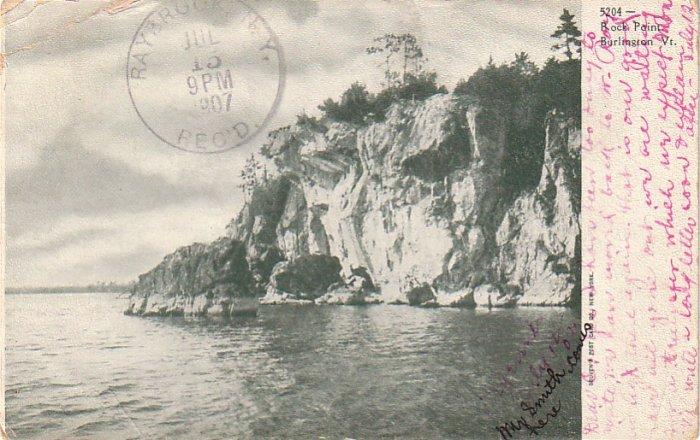 Rock Point in Burlington Vermont VT, 1907 Vintage Postcard - 4302