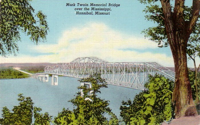 Mark Twain Memorial Bridge at Hannibal Missouri MO, 1944 Curt Teich Linen Postcard - 4322