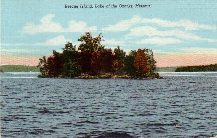 Rescue Island in Lake of the Ozarks Missouri MO, 1946 Curt Teich Postcard - 4324