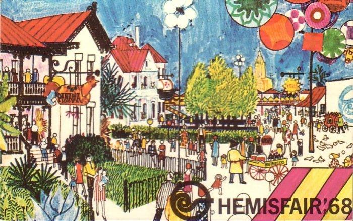 1968 World's Fair HemisFair in San Antonio Texas TX, Chrome Postcard - 4360