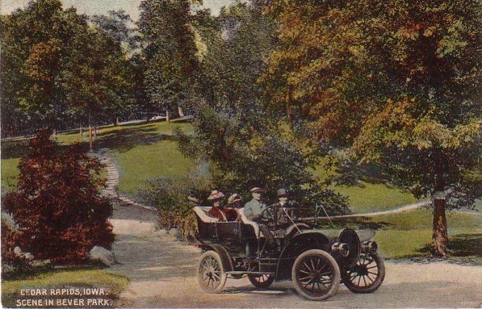 Antique Automobile in Bever Park at Cedar Rapids Iowa IA, 1911 Vintage Postcard - 4397