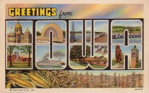 Greetings from Iowa, 1940 Curt Teich Large Letter Linen Postcard - 4400