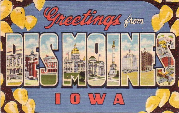 Greetings from Des Moines Iowa IA, Large Letter Linen Postcard - 4401