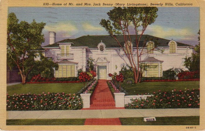 Home of Jack Benny in Beverly Hills California CA 1940 Curt Teich Linen Postcard - 4418