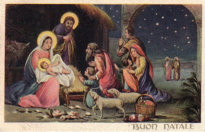 Buon Natale, Christ Nativity Scene with Shepherds Italian Vintage Postcard - 4420