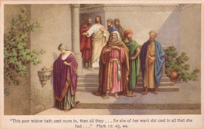 The Widow's Mite Religious Vintage Postcard - 4439