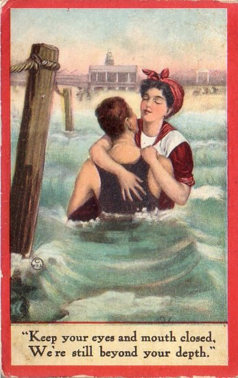 1912 Bathing Beauties Comic Vintage Postcard - 4481