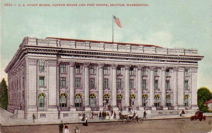 U.S. Court House in Seattle Washington WA, Edward H. Mitchell Vintage Postcard - 4483