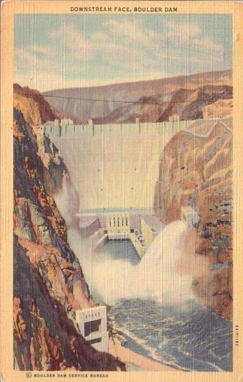 Downstream Face, Boulder Hoover Dam 1936 Curt Teich Linen Postcard - 4495