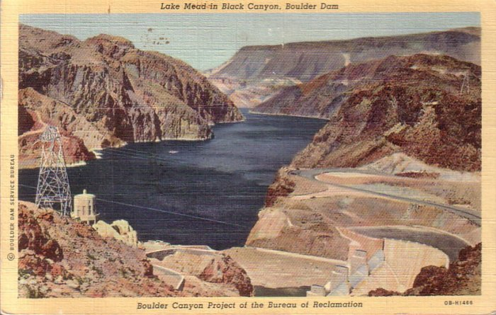 Lake Mead in Black Canyon, Boulder Hoover Dam 1940 Curt Teich Linen Postcard - 4496