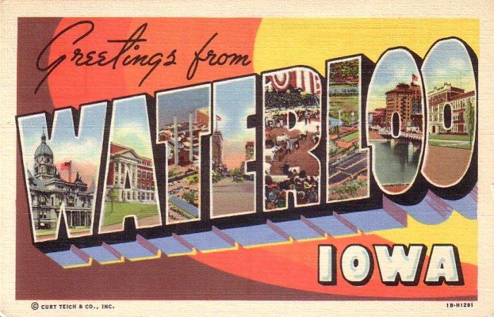 Greetings from Waterloo Iowa IA 1941 Large Letter Curt Teich Lienn Postcard - 4518