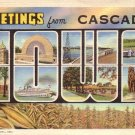 Greetings from Cascade Iowa IA 1940 Large Letter Curt Teich Lienn Postcard - 4519