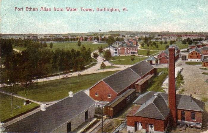 Fort Ethan Allan from Water Tower in Burlington Vermont VT 1908 Vintage Postcard - 4520