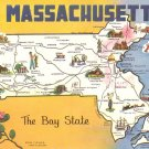 Greetings from Massachusetts MA Map, 1966 Chrome Postcard - 4527