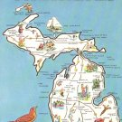 Greetings from Michigan Map, Chrome Postcard - 4536