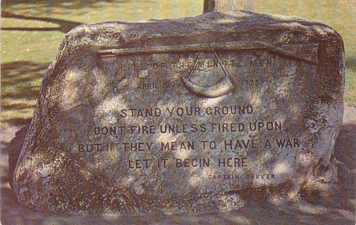 Line of the Minutemen Marker at Lexington Massachusetts MA Chrome Postcard - 4554