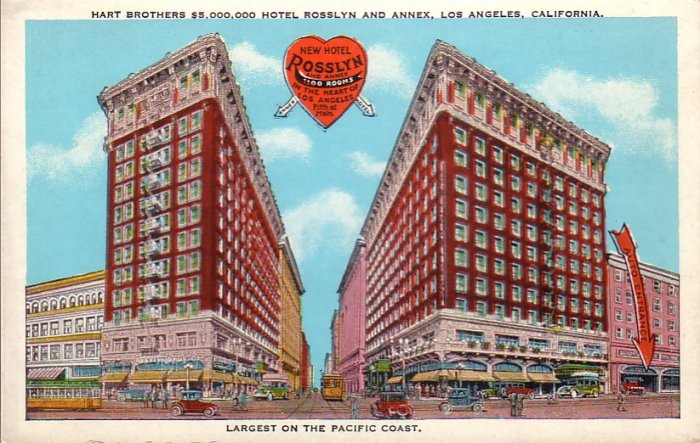 Rosslyn Hotel and Annex in Los Angeles California CA, Vintage Postcard - 4558