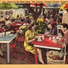 Dining in West Patio at Original Farmers Market, Hollywood California CA 1948 Linen Postcard - 4560