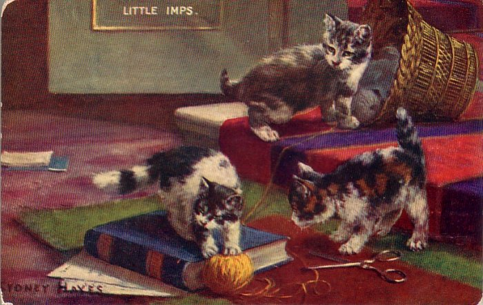 Little Imps, Artist Signed Sydney Hayes Vintage Postcard of Kittens Playing - 4569