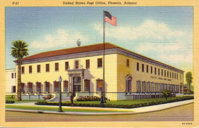 United States Post Office in Phoenix Arizona 1939 Curt Teich Linen Postcard - 4575